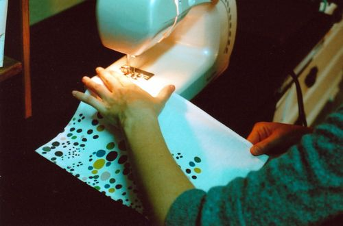 Leah_sewing_spotty_towel